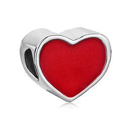 pandora spacers UK - Large Hole Valentine's Day Red Enamel Heart Love Spacers European Bead Fit Pandora Chamilia Biagi Charm Bracelet