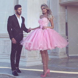 $enCountryForm.capitalKeyWord Canada - Cute Pink Ball Gown Prom Dresses Sweetheart Appliques Tulle Knee Length Lace Up Back Homecoming Dresses Short Party Dress 2018 Newest Style
