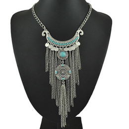 gypsy coins NZ - Wholesale-Bohemian Long Tassel Necklace Women Boho Gypsy Coin Turquoise Statement Necklaces&Pendants Fashion Turkish Jewelry Collier Femme