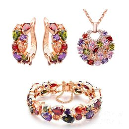 $enCountryForm.capitalKeyWord Canada - Luxury Noble 18K Real Gold Plated Colorful Swarovski Crystal Necklace Earrings Bracelet Jewelry Sets for Women Ladies Zircon Acessories