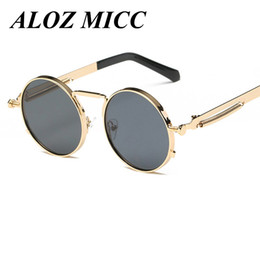 Chinese  ALOZ MICC Fashion Designer Unisex Men Women Brand Steam punk Round Lens Sunglasses Unique Spring legs Glasses UV400 A071 manufacturers