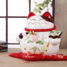 Green Gifts Ideas Canada - Ceramic large cat piggy ornaments Lucky cat shop opened Home Furnishing wedding birthday gift ideas