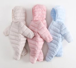 Barato Macacões Do Inverno Dos Meninos-Ins Autumn Winter Infant Newborn Baby Rompers Meninas Meninos Crianças Bebês Down Cotton Overalls Rompers Hooded Onesies Jumpers 13464