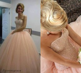 12 ans de robes Pas Cher-2017 Bling Blush Pink Robe Quinceanera Sweetheart Ball Gowns Tulle Sweet 16 ans Robe Longs Femmes Party Pageant Gown Plus Size Custom Made