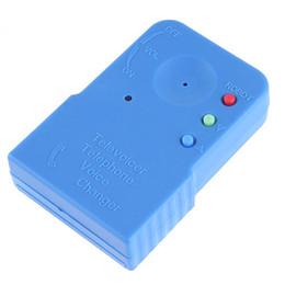 Cambiador de voz de mano Teléfono móvil portátil Cambiador de voz de teléfono Dispositivo de transferencia Disfraz de voz MINI Gadgets con caja de venta por menor Azul