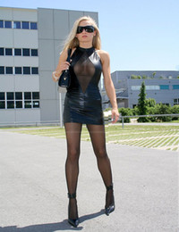 Wetlook Faux Cuir Pas Cher-Black Stylish Faux Leather Dress Tight-fitting Sexy Bodycon Charming Clubwear Wetlook Party Robe de soirée sans manches