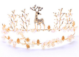 jewelry welding Canada - The new bride headdress Welding the fawn animal crown crown golden wedding accessories Crown hair