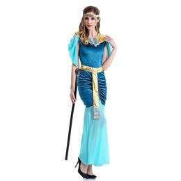 Chinese  Blue Halloween Luxury Princess Costume Greek Goddess Dress Arab Queen Egypt Women Cosplay Costume Fancy Dress manufacturers
