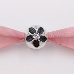 e68c60ec2 Authentic 925 Sterling Silver Beads Silver Black Enamel Flower Clip Charm  Charms Fits on European Pandora Style Jewelry Bracelets