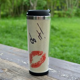 good cans 2019 - Wholesale- travel mug adversing mug easy for DIY ,rosy lips coffee mug can with your logo Promotion cup with good qualit
