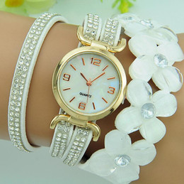 Wholesale Fashion Big Flower Chain Bracelet Watch Ladies Dress Quartz Watches Blosom Full Cystal Long band Bracelet Quartz Wristwatch Clock