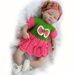 $enCountryForm.capitalKeyWord Australia - 18inch Fake Baby Doll Reborn Cloth Body Silicone Reborn Babies Girls Toys With Denim Skirt Children Doll Gifts Bonecas Reborn