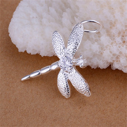925 sterling silver dragonfly pendant 2021 - 10PCS lot Free shipping 925 Sterling silver plated Insert Stone Dragonfly Pendant LKNSPCP011