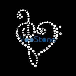 Treble Clef Heart Music Note Rhinestone Heat Transfer Iron On Hot Fix Motif  Designs 9d73794ef852