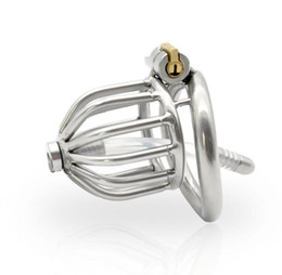 CoCk male urethral online shopping - Chastity Devices Male Penis Lock Stainless Steel Chastity Belt Metal Cock Cage For Men With Curved Penis Rings with urethral catheter BDSM