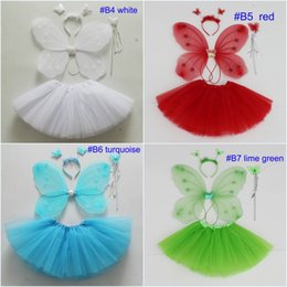 $enCountryForm.capitalKeyWord Canada - Children Girls Angel Wings Costume Fairy Butterfly Wing Set Halloween cosplay clothes headband+Magic Wand +butterfly wing+skirt 4pcs set