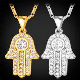 alloy hamsa hand 2019 - Hamsa Hand Necklaces Pendants for Women Men Clear Cubic Zirconia 18K Real Gold Plated Lucky Jewelry Gift discount alloy
