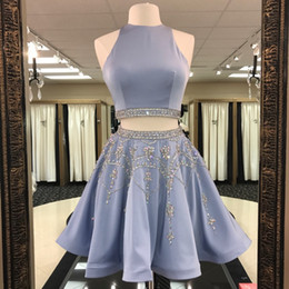 Short Short À La Mode Pas Cher-Fashion Beading Crystals Juniors Short Homecoming Dress 2018 Cheap A Line 2 pièces sans manches Keyhole Backless Prom Cocktail Party Gowns
