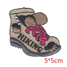 Wholesale Embroidered Jackets Canada - HIKING BOOT hiker otudoors sports embroidered iron-on patch applique for Jacket Jeans Clothing Badge trouser Backpack