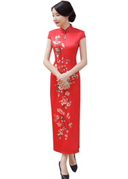 traditional chinese clothing woman UK - Shanghai Story Keyhole Chinese traditional clothing oriental style dresses long Cheongsam Short Sleeve Floral Qipao For Woman