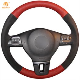 Passat Steering Wheel Canada - Mewant Red Genuine Leather Black Suede Steering Wheel Cover for Volkswagen VW Gol Tiguan Passat B7 Passat CC Touran Magotan