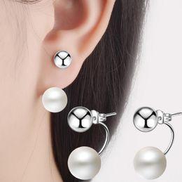 3cf1a25a6581 Plata de ley 925 Chapado de perlas bola pendientes modelos femeninos que  usan un dos pendientes lindos moda salvaje Super Flash joyería