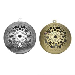 Coin Locket Pendants UK - 10pcs Mix Round Antique Vintage Memory Photo Pendant Aromatherapy Lockets Essential Oil Diffuser Lockets For Perfume DIY Jewelry