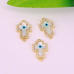 Micro Pave Connectors Australia - 10Pcs Micro Pave CZ Cubic Zircon MOP Shell Evil Eye Cross Connector Beads For Charms Bracelet Making