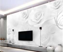 White 3d Rose Fabric Australia - Modern simple three - dimensional white rose TV backdrop mural 3d wallpaper 3d wall papers for tv backdrop