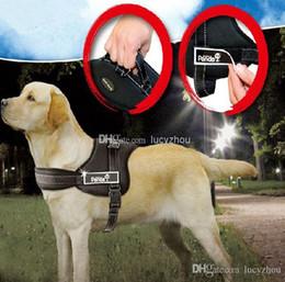 Led Dog Collar Large Canada - Top Quality 3 Color Nylon Large Dog Pet Harness Ventilate Fashion Dog Lead Rope Training Leash Collar 5 Size Mix Order 5PCS LOT