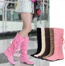 $enCountryForm.capitalKeyWord Canada - Wholesale-Big size 34-43 Women's New Fashion Sexy Knee High Long Boots Low Wedge Heel Winter women Shoes Slip-on Shoes Autumn Boots AA013