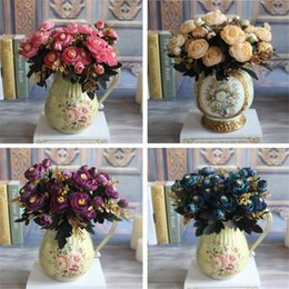 Barato Flores De Peônia Azul Artificial-Hot Realistic 6 Sucursais Blue Autumn Artificial Falsos Peony Arranjo de flores Casamento Hydrangea Home Decor Flores Artificiales