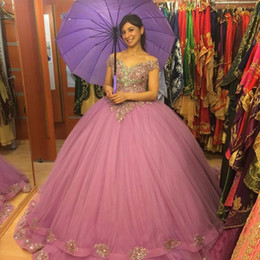 Orange Violet Clair Pas Cher-Gorgeous Sweet 16 Robes Ball Gown Robe Quinceanera 2017 Appliqué Tulle Light Purple Princess Ballkleid Longueur de plancher Custom 15 Anos Gowns