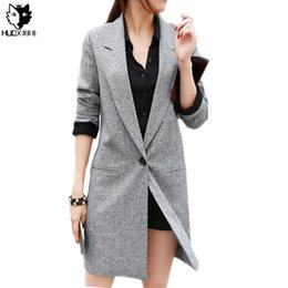 Veste De Costume Élégante Pas Cher-HUOX Gris Femmes Longue Suit Blazer Poche Automne Casual Sexy Slim Long Sleeve Blazer Blazer Elegant Office Party Long manteau