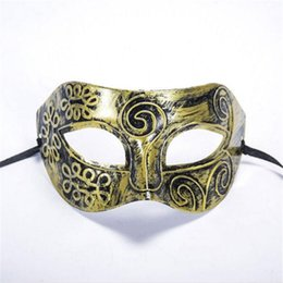Chinese  New Fashion Halloween Costume Ball Mask Rome Gladiator Masquerade Male Masks Retro Bronze And Silver Venetian Party Stage Prop manufacturers