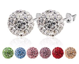 80089717b Solid 925 Sterling Silver Earring Studs Disco Ball Crystal Rhinestone Clay  Beads Jewelry size 6mm 8mm Wedding Engagement