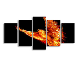 $enCountryForm.capitalKeyWord Australia - 5 Panel firebird Painting Canvas Wall Art Picture Home Decoration Living Room Canvas Print Modern Painting--Large Canvas Art Cheap SD-011