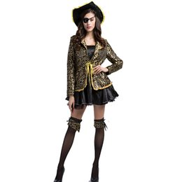 Costumes De Luxe Pour Femmes Pas Cher-Deluxe Women Gold Black Halloween Pirate Cosplay Capitaine Costume Fancy Dress Sexy Buccaneer Coat With Hat Plus Size