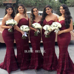 prom dress strapless black lace silk NZ - Elegant Burgundy Sweetheart Lace Mermaid Cheap Long Bridesmaid Dresses 2017 2018 Wine Red Maid of Honor Wedding Guest Dress Prom Party Gowns