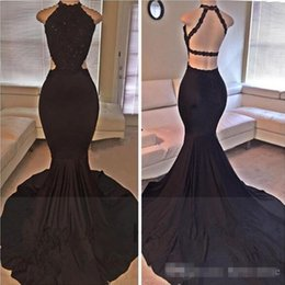 Barato Longas Cetim Vestido Lantejoulas-2017 Sexy Black Halter Satin Mermaid Long Prom Dresses Lace Sequins Beaded Backless Side Slit Evening Dresses Formal Party Dresses