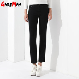 Barato Pantalones 4xl Mulher-Stretch Pants Black Casual Denim Trousers Female Jeans Pantalones Mulher Jeans Feminino Middle-Waisted Mulher Vestuário GAREMAY
