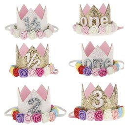 hair papers UK - Baby Birthday Cap Hat Hair Accessories Headbands Headwear Cute Flower Paper Princess Prince Gold Shiny Crown Kids Birthday Party Cone Cap