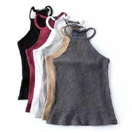 Tricot En Gros Pas Cher-Grossiste-Sexy Fitness Slim Fit Strap Spaghetti Tige Camisette Brandy Melville Tops Culotte Tricoté Ribbed Ligne Striped Short Tee 6 Couleurs