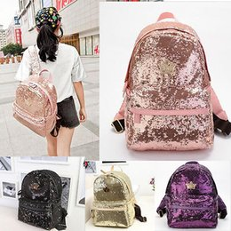 womens backpacks zippers NZ - Cute Girls Sequins Backpack Womens Paillette Leisure School BookBags Free Shipping Top Quality 5 PCS YYA373
