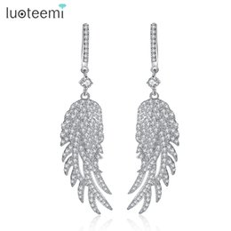 angel wings earrings Canada - Fashion Angel Wings Design Long Drop Earrings For Women Brincos Wedding Jewelry Accessories LUOTEEMI