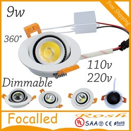 Kitchen Cool NZ - Dimmable 9W COB LED Downlight AC110V 220V 360 beam angle Round Square LED Ceiling lamps Warm white cool white +driver CE UL SAA