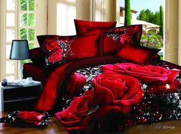 $enCountryForm.capitalKeyWord Canada - 100 Cotton 3D flower Floral Black Red Rose Bedding Sets Oil Print Duvet Cover Sets Queen King Size