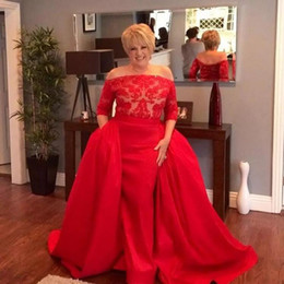 $enCountryForm.capitalKeyWord NZ - Modest 2017 Red Lace And Satin Half Sleeve Off Shoulder Mermaid Evening Gowns With Detachable Train Long Puffy Formal Dresses EN10249