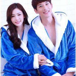 Wholesale- Warm Winter Hooded Bathrobe Cotton Flannel Pyjama Couples  Bathrobes Kimono Dressing Gown Sleepwear Robes For Women Men Home Wear e04c9a92b