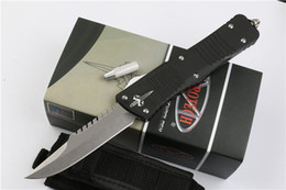 Knifes D2 Canada - Promotion Troodon Marfione Custom Combat Troodon Recurve Knife D2 Singe Edge Drop Point Stone Washed Blade Aviation Aluminum Handle Knives